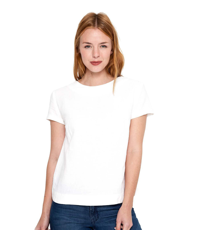 WoolOvers Womens Linen and Cotton Short Sleeve Crew Neck T-Shirt Tee Top