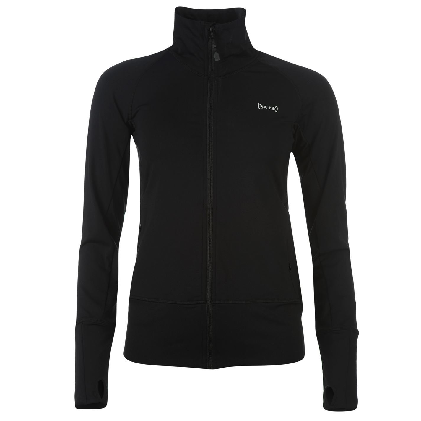 USA Pro Womens Ladies Fitness Jacket Coat Long Sleeve Full Zip Training Top
