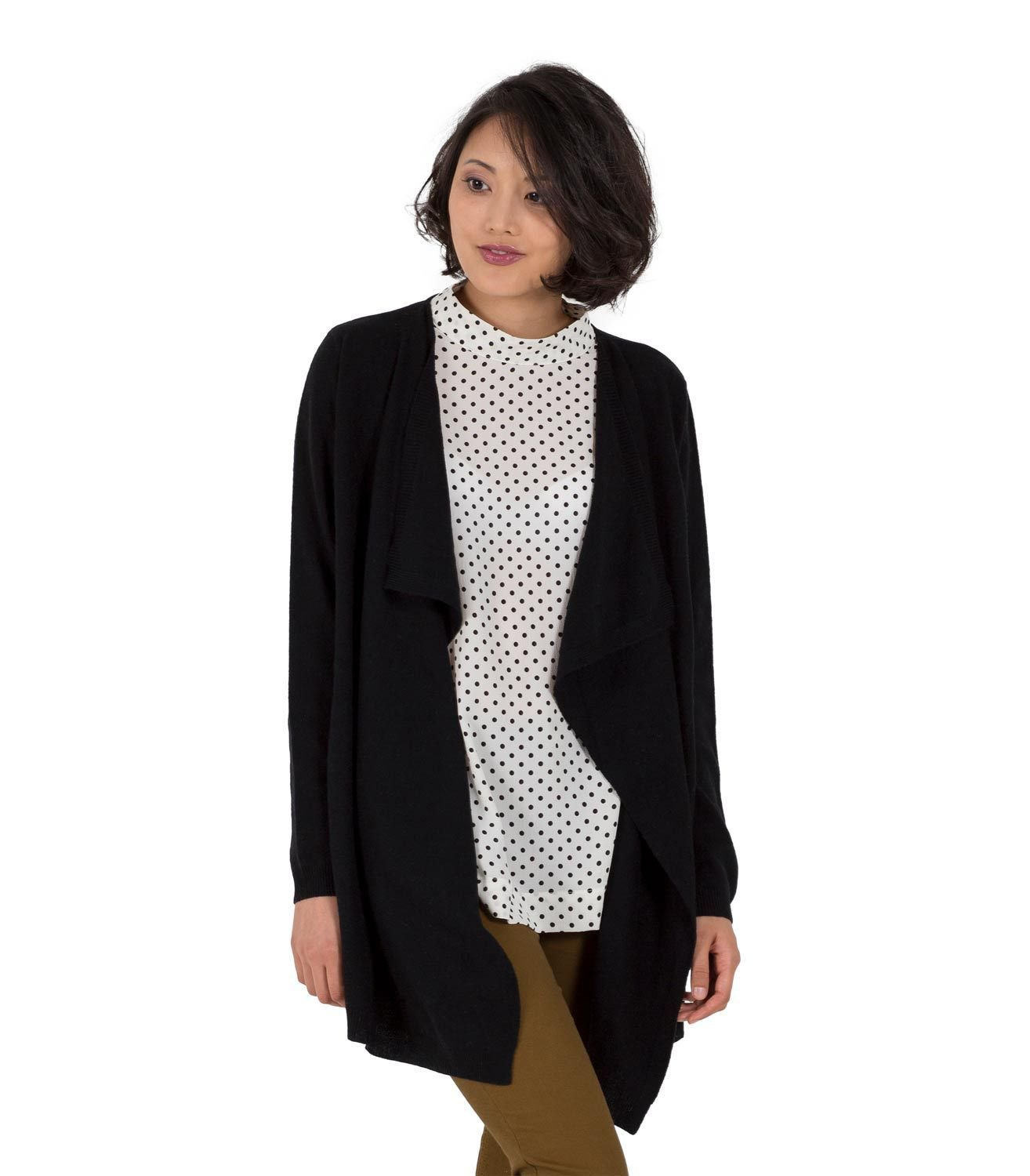 WoolOvers Womens Cashmere Merino Long Sleeve Waterfall Cardigan Knitted Top