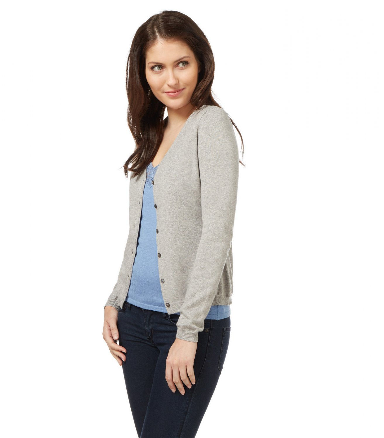 WoolOvers Womens Silk Cotton Soft Feel V Neck Long Sleeve Button Cardigan Top