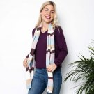 WoolOvers Womens Cashmere and Cotton Bold Stripe Scarf Pashmina Shawl Accessory
