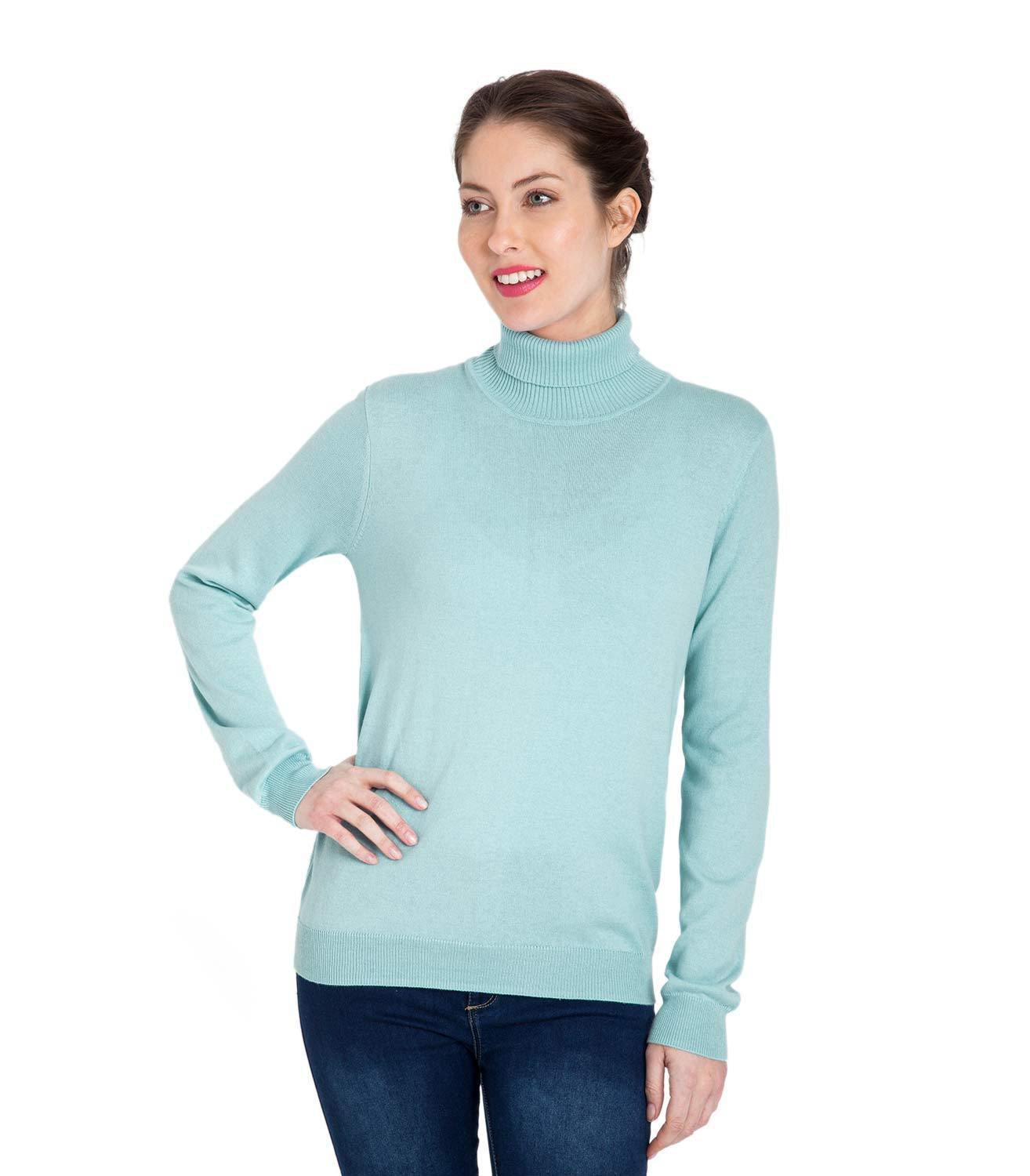 WoolOvers Womens Silk and Cotton Polo Neck Jumper Sweater Pullover Knitwear