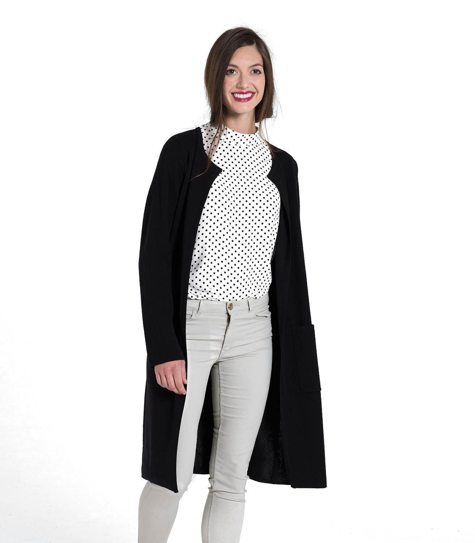 WoolOvers Womens 100% Merino Milano Stitch Long Open Front Stylish Cardigan