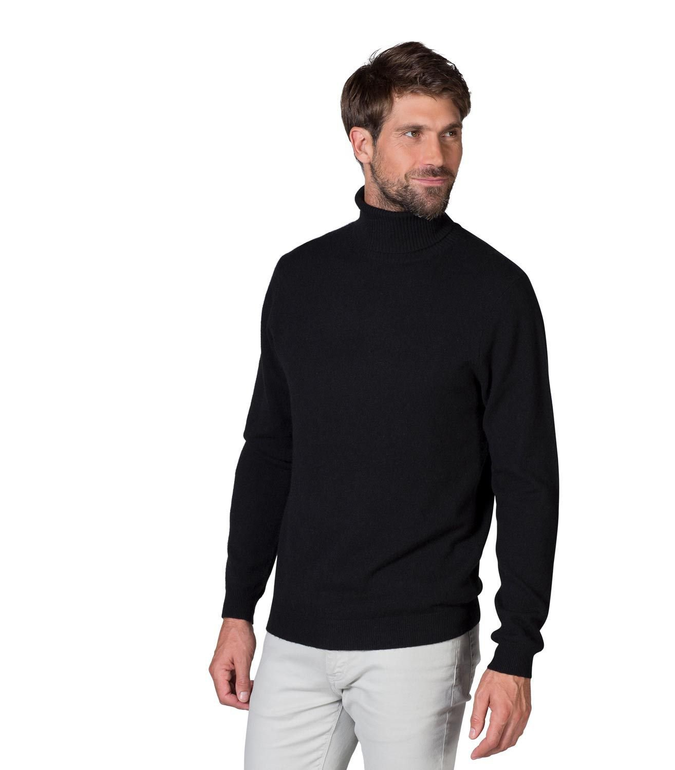 WoolOvers Mens 100% Merino Polo Neck Long Sleeves Top Sweater Jumper Jersey