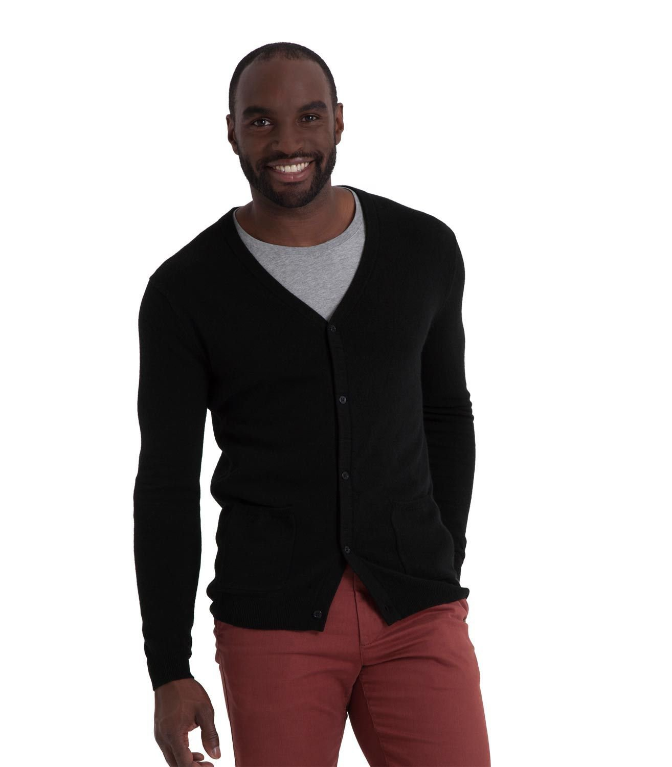 WoolOvers Mens New Cashmere V Neck Ribbed Trims Classic Warm Soft Top Cardigan