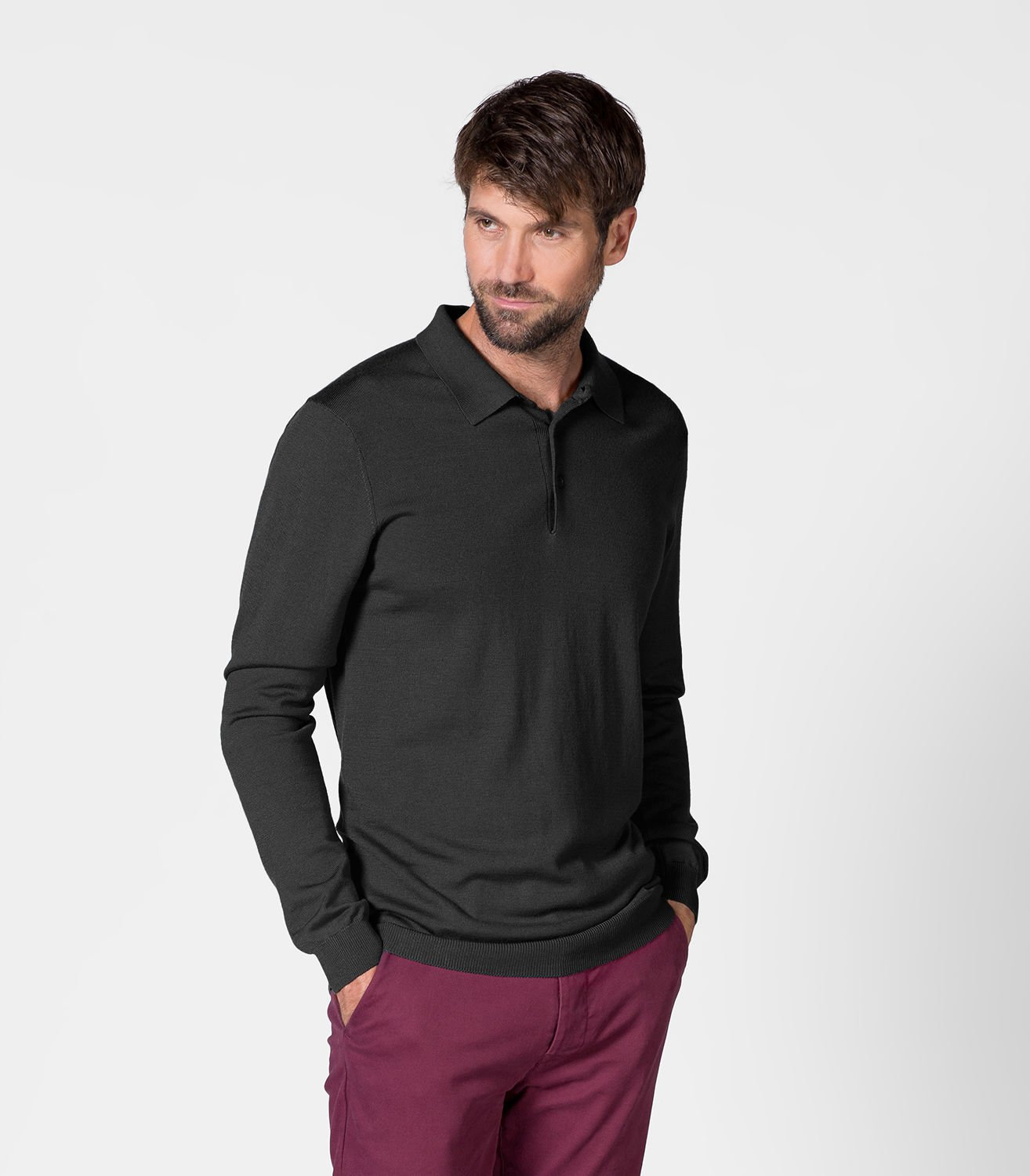 WoolOvers Mens 100% Merino Long Sleeve Polo Shirt Ribbed Collar Button Classic