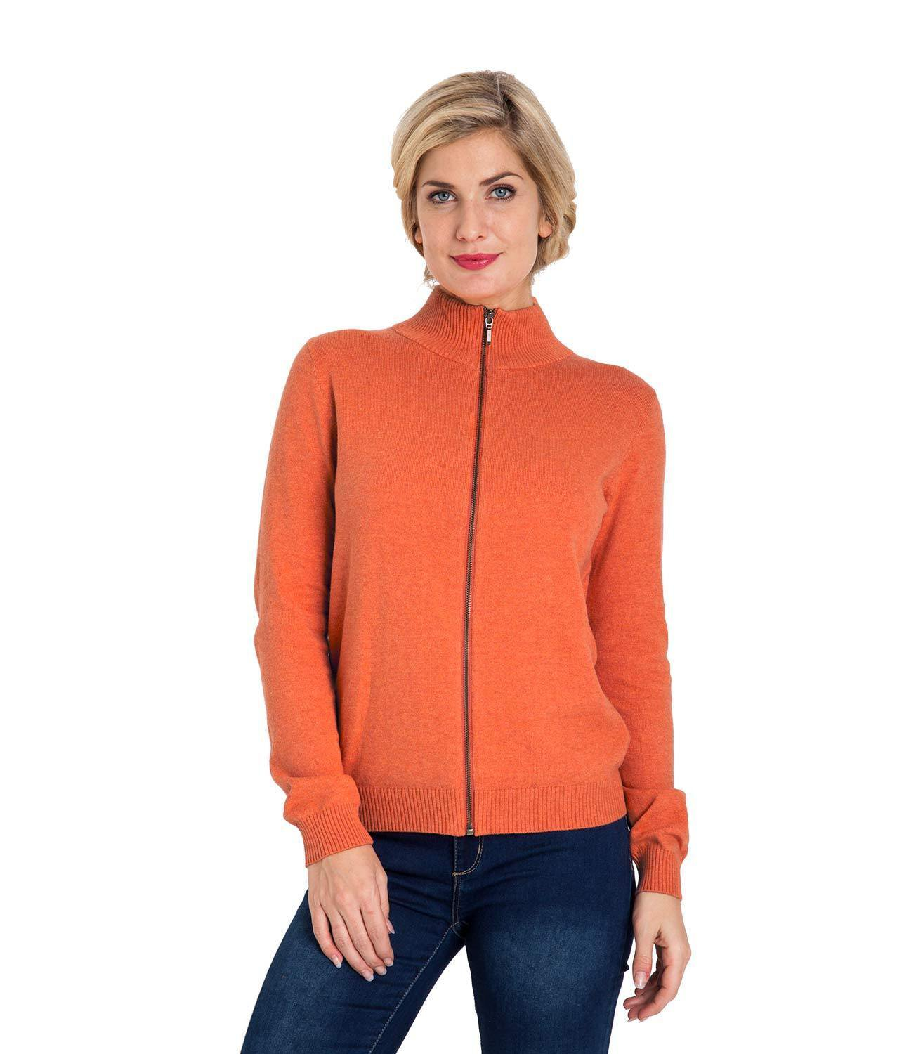 WoolOvers Womens Cashmere and Cotton Zip Through Cardigan Jumper Sweater