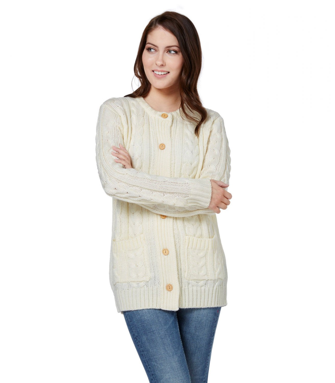 WoolOvers Womens Pure Wool Aran Crew Neck Long Sleeve Warm Knit Cardigan