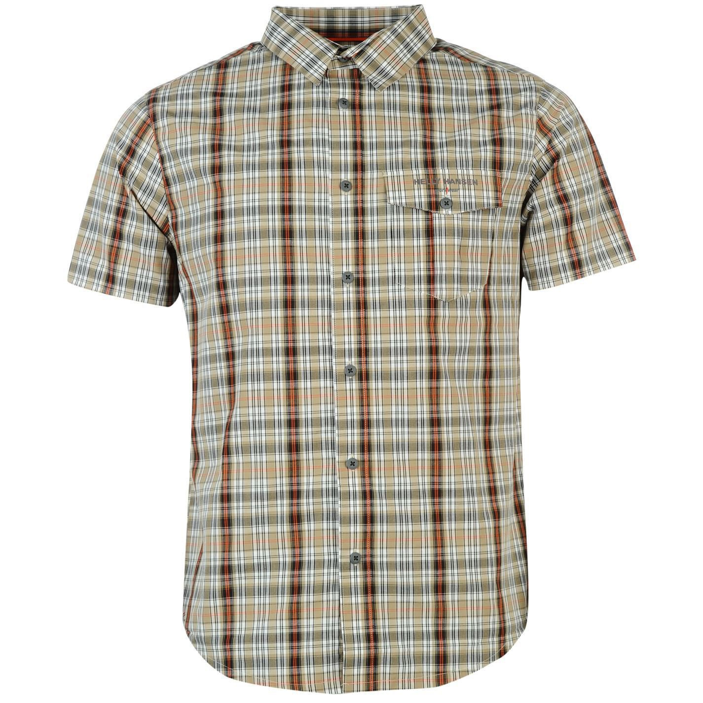 Helly Hansen Mens L ton Shirt Button Down Checked Short Sleeve Workwear Top