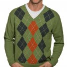 WoolOvers Mens Lambswool Argyle Long Sleeves Knitted Top Sweater Jumper Jersey
