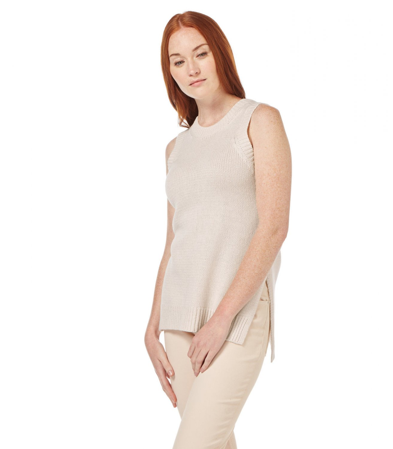 WoolOvers Womens Linen Blend Sleeveless Summer Top Ladies Knitted Tunic