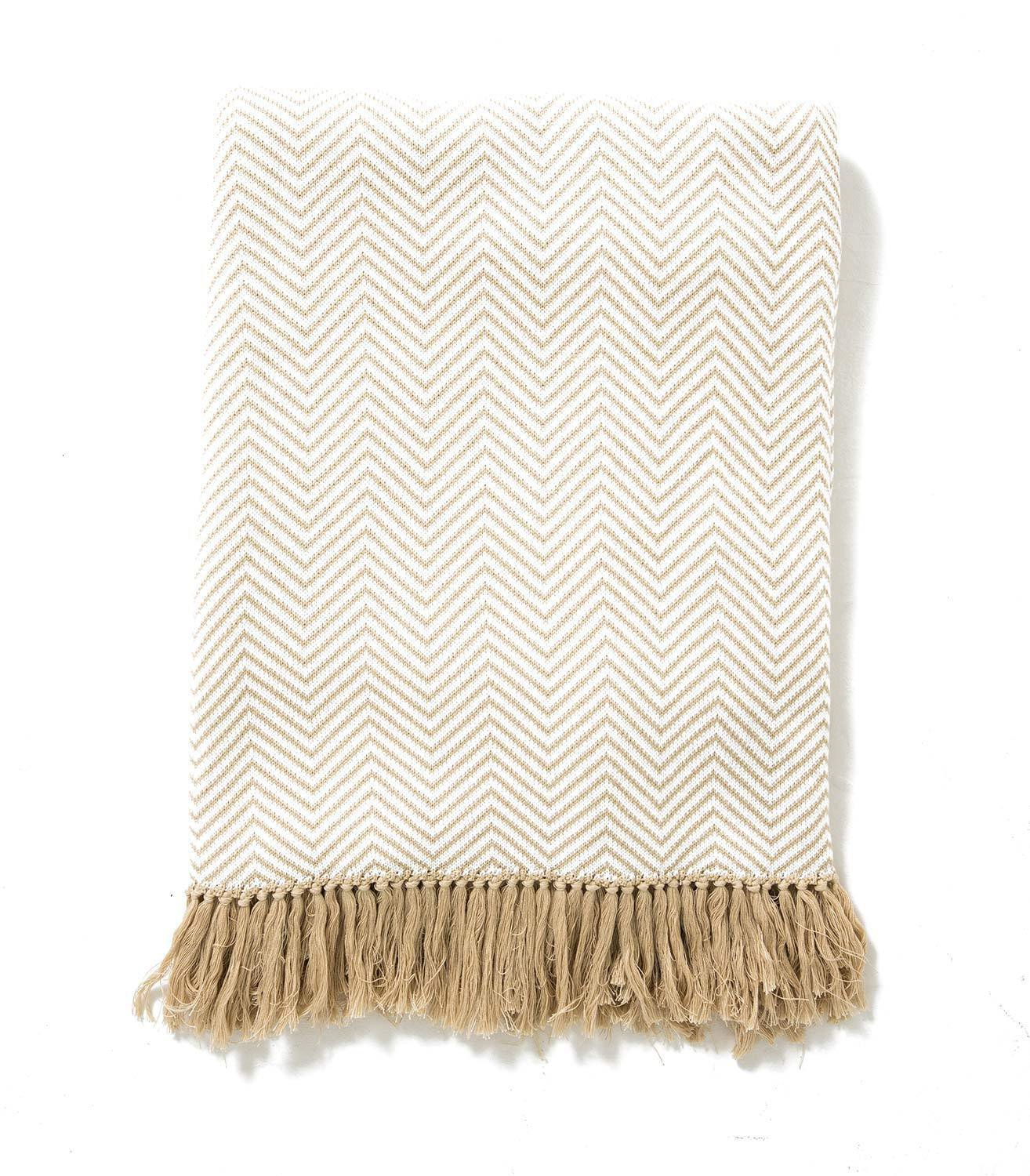 WoolOvers 100% Cotton Chevron Cosy Blanket Throw Cover Soft Knitted Warm