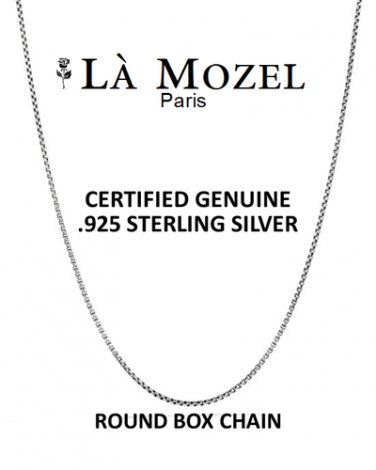 """Authentic Hand Crafted Genuine .925 Sterling Silver Italian Design Round Box Chain - 22"""""""