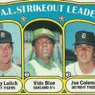 1972 Topps Mickey Lolich, Vida Blue, Jim Coleman No. 96