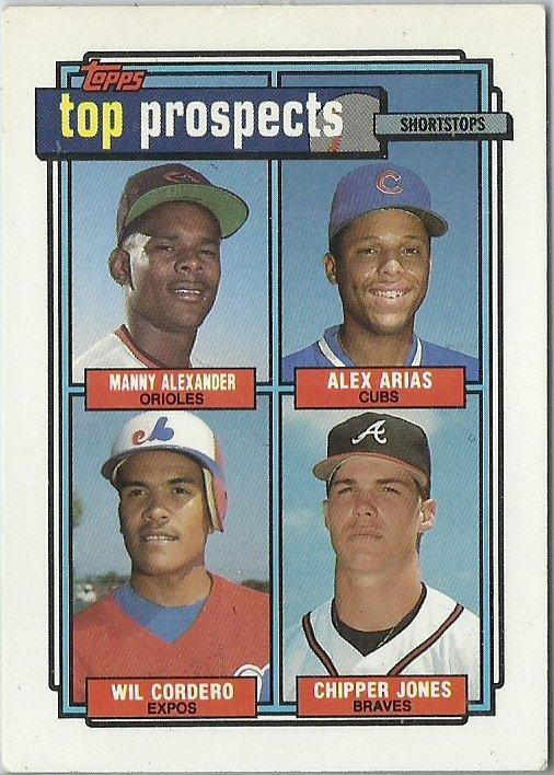 1992 Topps Manny Alexander, Alex Arias, Wil Cordero, Chipper Jones No. 551 RC