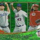 2013 Topps Clayton Kershaw, R.A. Dickey, Johnny Cueto No. 81 Green Refractor