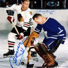 Bower Stops Hull Signed 8x10, TO Maple Leafs, CHG Blackhawks