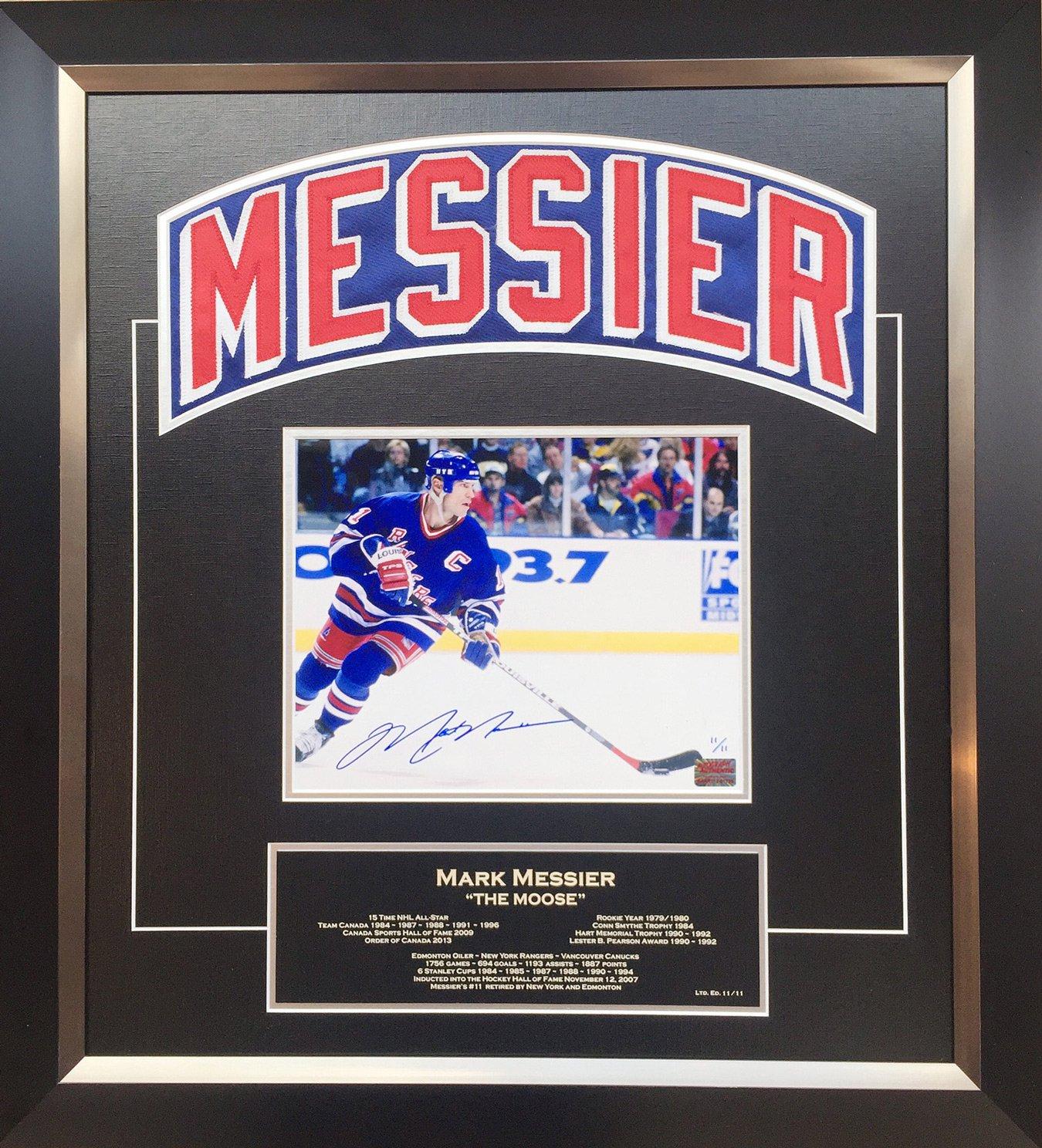 Mark Messier Framed Namebar Signed, NY Rangers, Ltd Ed 11/11 - Career Stats