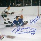 Autographed Johnny Bower, Bobby Hull 8x10 Photo - Maple Leafs, Blackhawks