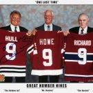 Three Nines: Maurice Richard, Gordie Howe, Signed Bobby Hull - Three Great Nines