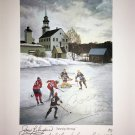 Signed Bower, Lafleur, Beliveau, Hull, Mahovlich Litho - Habs, BlackHawks, Leafs