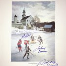 Signed Johnny Bower, Guy Lafleur, Bobby Hull, Litho - Montreal, Chicago, Toronto
