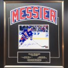 Mark Messier Framed Namebar Signed, NY Rangers, Ltd Ed 1/11 - Career Stats