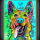 """""Love and a Dog"""" Dog Art Giclee Print by Dean Russo - Framed Canvas"