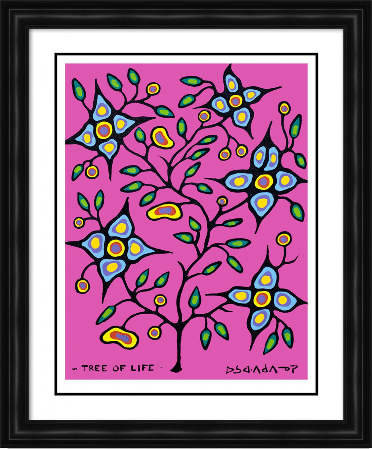 """Norval Morrisseau Limited Edition Print """"""""Tree of Life"""""""" - Family Seal - Framed Canvas"""