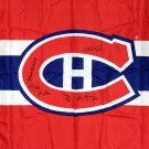 Signed Flag Lafleur, Richard, Beliveau, Cournoyer, Lapointe - Montreal Canadiens