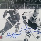 Signed Bobby Hull, Jean Beliveau Photo - Chicago Blackhawks, Montreal Canadiens