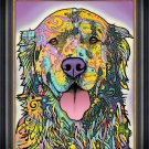 """""""""""Silence is Golden"""""""" Dog Art Giclee Print by Dean Russo - Framed Canvas"""