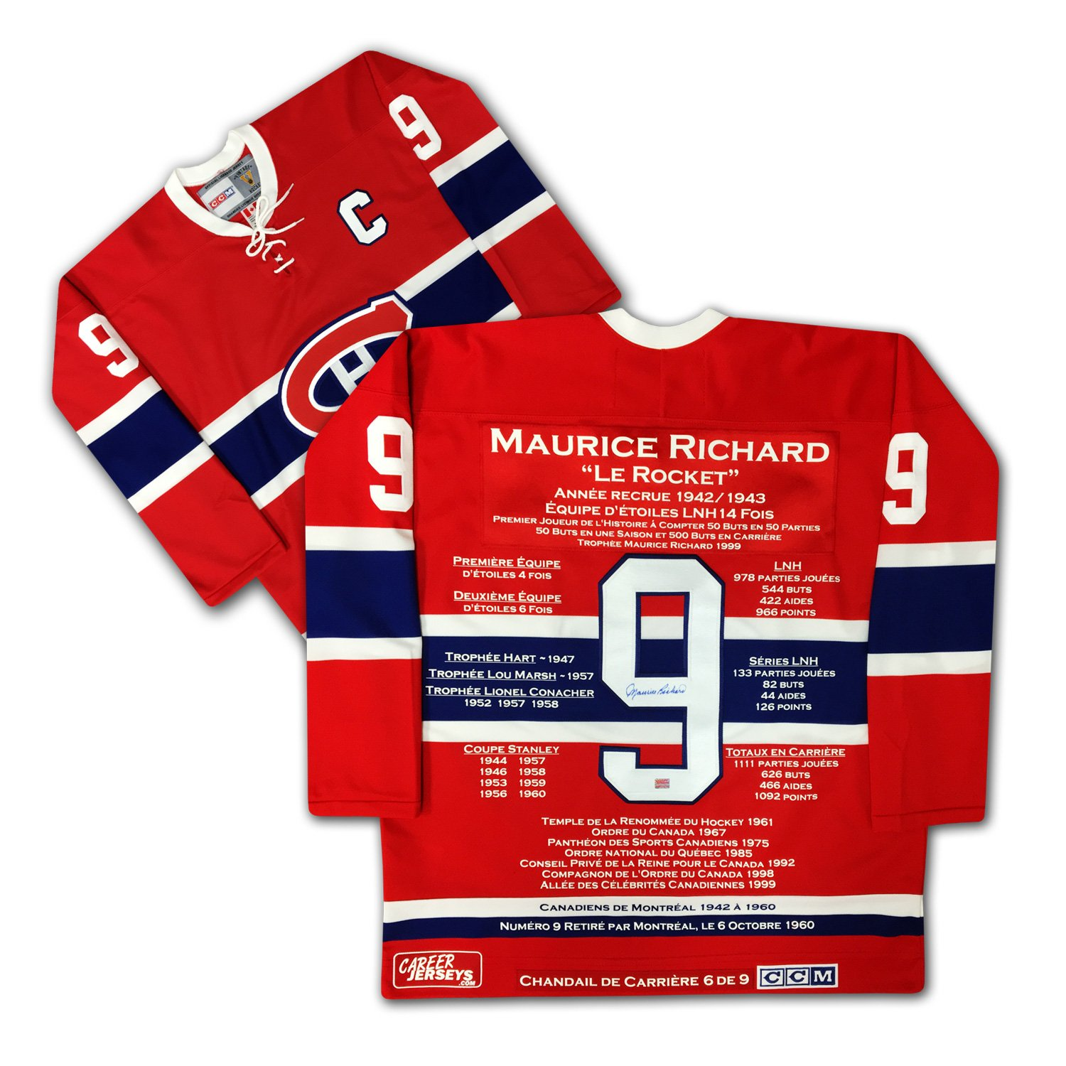 Maurice Richard Career Jersey - French Edition - Autographed, Limited Edition /9