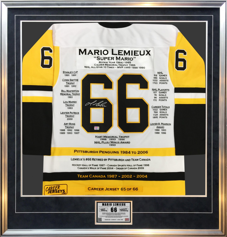 Mario Lemieux Framed White Career Jersey - Signed Ltd Ed 66, Pittsburgh Penguins