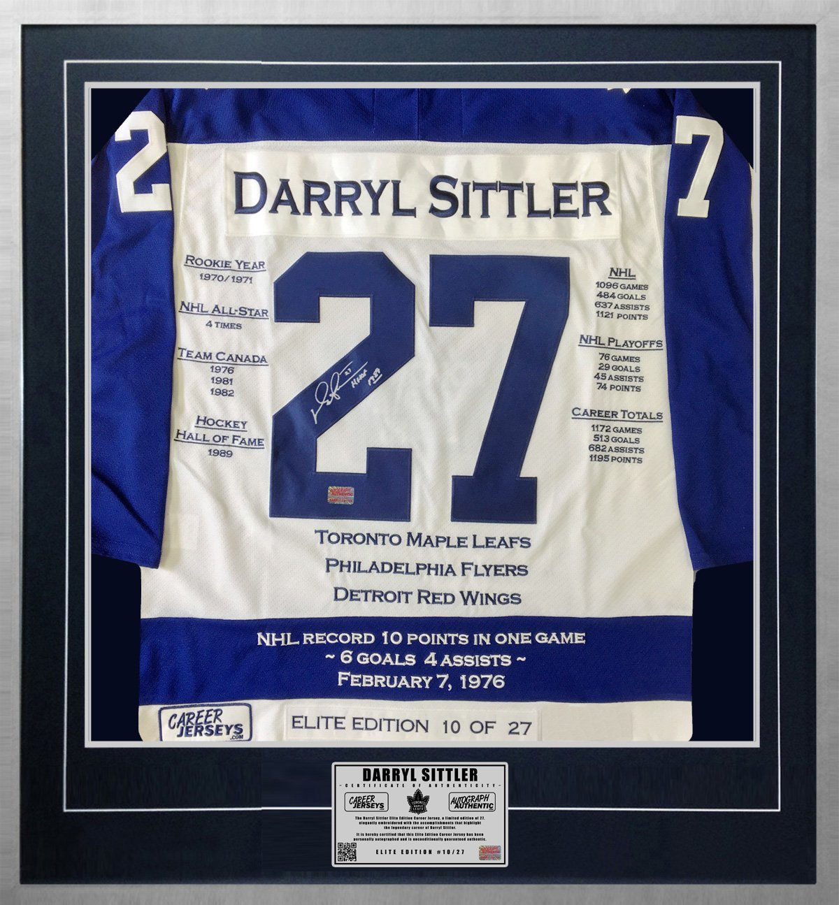 Darryl Sittler Signed Elite Edition Career Jersey 10 of 27 - Ltd Ed, Maple Leafs