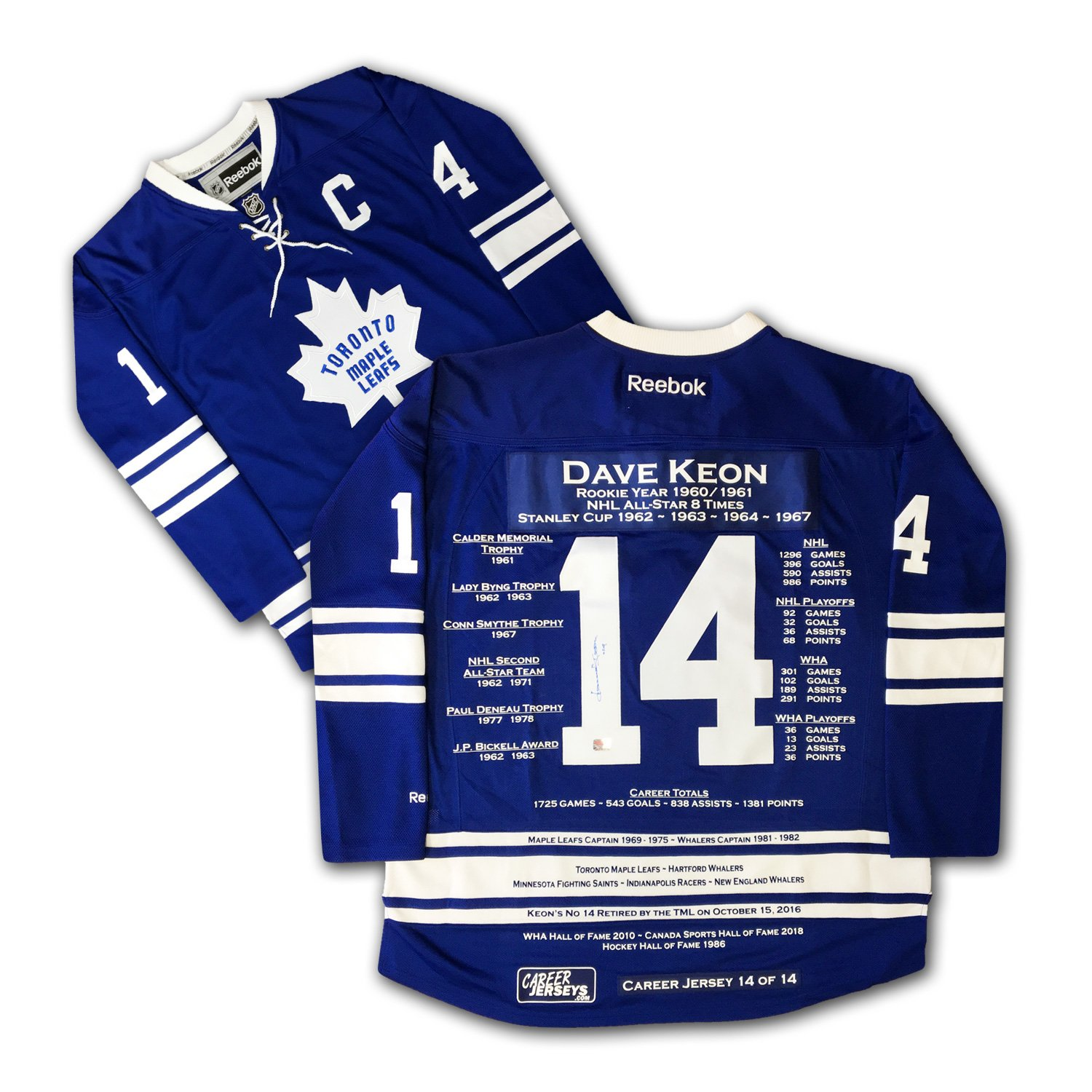 Dave Keon Career Jersey #14 of 14 - Autographed, LTD ED 14 - Toronto Maple Leafs