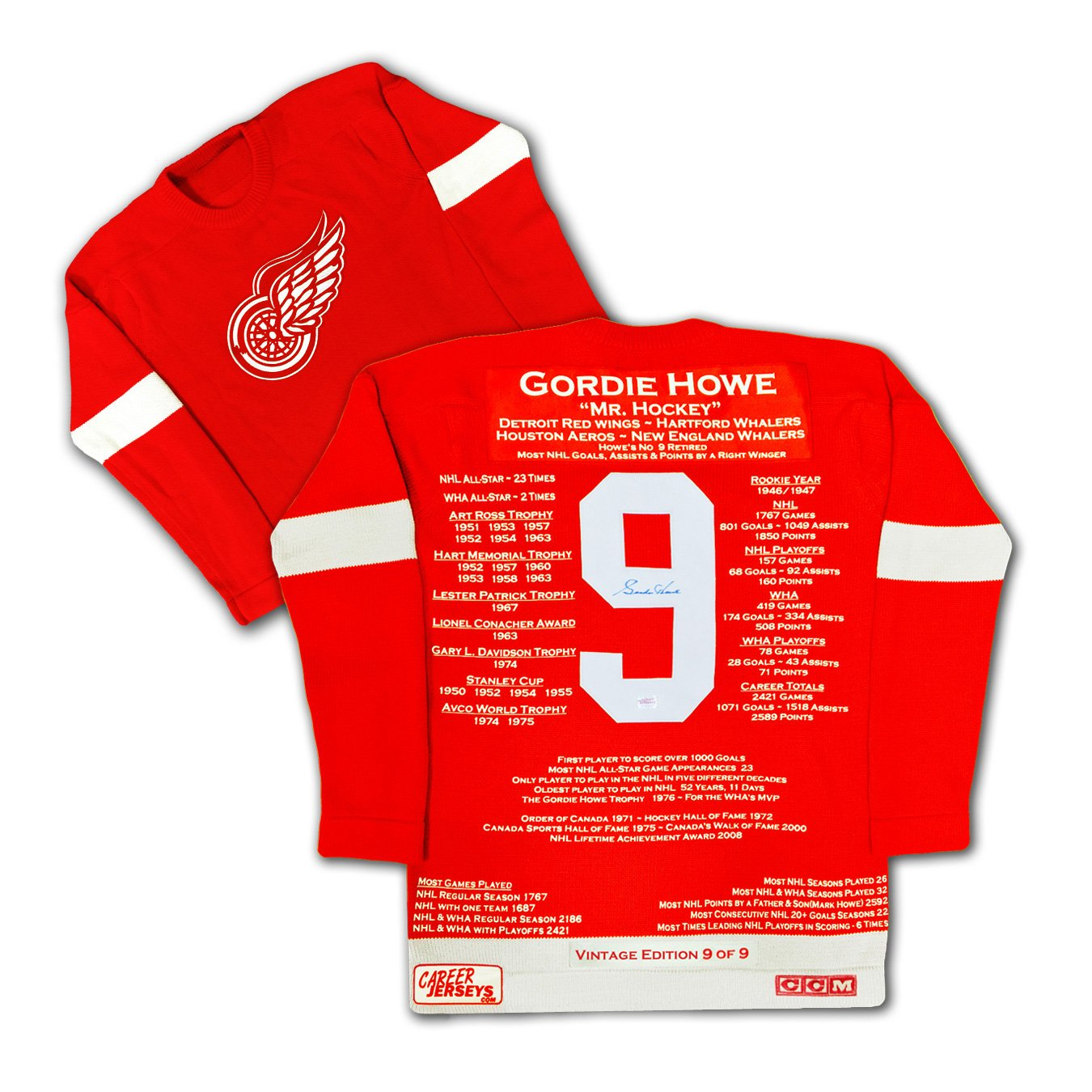 Gordie Howe Vintage Edition Wool Career Jersey Ltd Ed 9 of 9 - Signed Red Wings