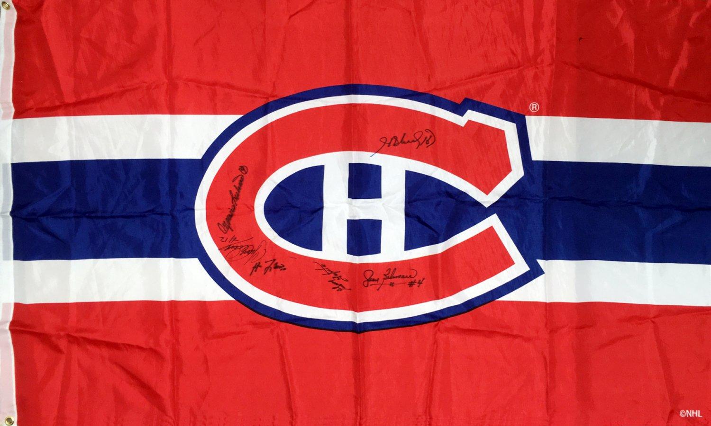 Signed Flag Lafleur, Richard, Beliveau, Cournoyer, Lapointe - Montreal Canadiens