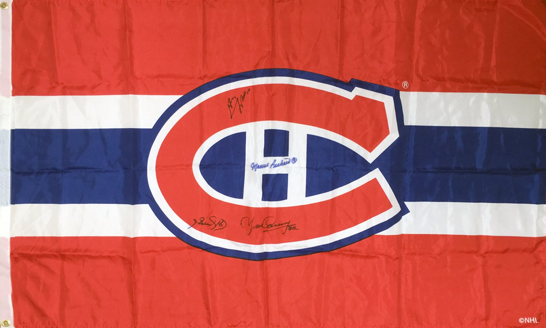Autographed Flag, Lafleur, Richard, Beliveau, Cournoyer - Montreal Canadiens