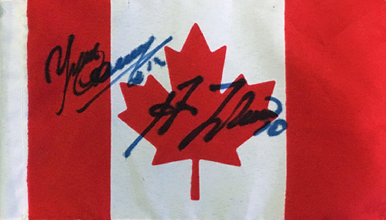 Autographed Guy Lafleur, Yvan Cournoyer Flag - Team Canada