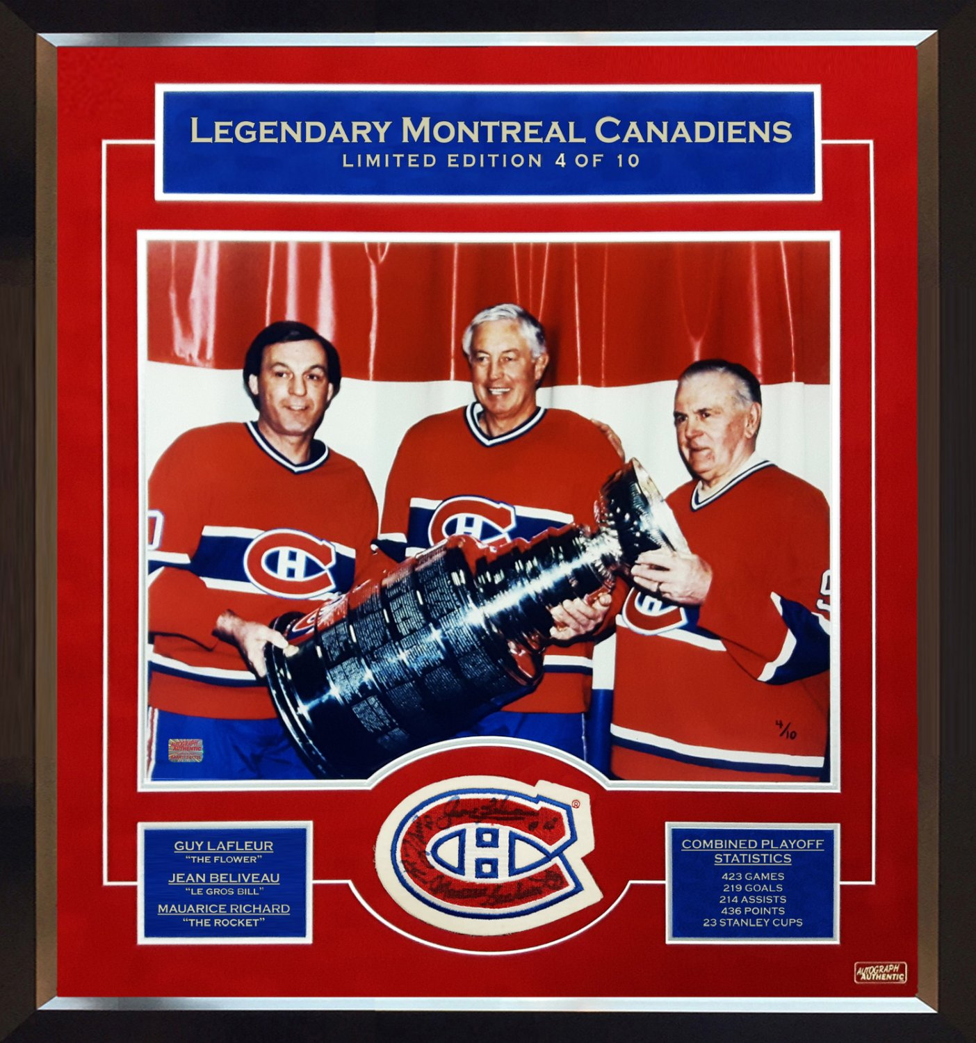 Maurice Richard, Jean Beliveau, Guy Lafleur Signed, 4 of 10 - Patch with Photo