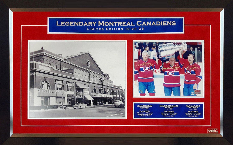 Maurice Richard, Jean Beliveau, Guy Lafleur Signed #10/23 - Habs 8x10 Photograph