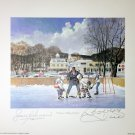 Signed Bobby Hull and Jean Beliveau Litho - Chicago Blackhawks, MTL Canadiens