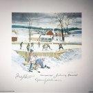 Autographed Bower, Beliveau, Ullman Lithograph - Toronto, Montreal, Detroit