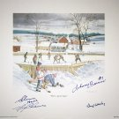 Signed Bower, Cheevers, Hall, Worsley Lithograph - Leafs, Hawks, Habs, Bruins