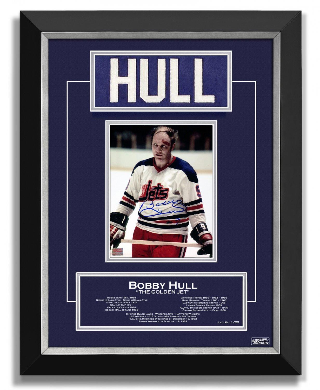 Bobby Hull Winnipeg Jets Collectible Namebar, Ltd Ed 1/99 - Career Stats