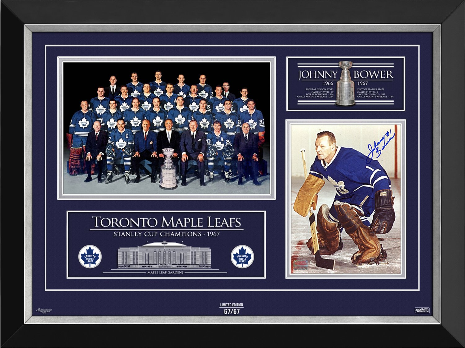 Johnny Bower Signed 1967 Stanley Cup (Blue), Ltd Ed 67/67 - Toronto Maple Leafs
