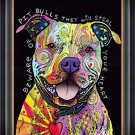 """""Beware of Pitbulls"""" Dog Art Giclee Print by Dean Russo - Framed Canvas"