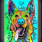 """""""""""Love and a Dog"""""""" Dog Art Giclee Print by Dean Russo - Framed Canvas"""