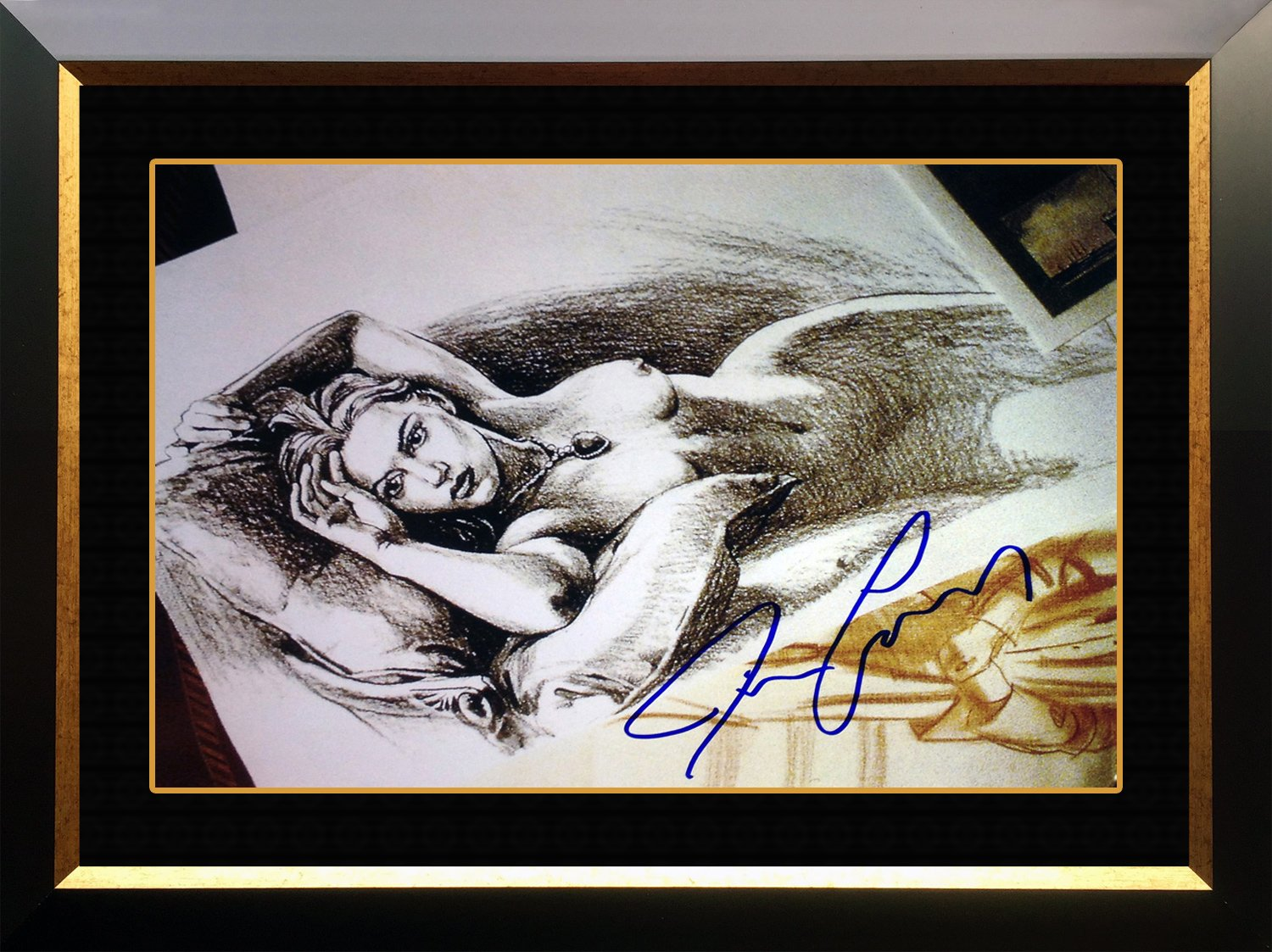 """Titanic """"""""Jack's Drawing"""""""", Facsimile Signed by James Cameron - Framed Photo 20x24"""